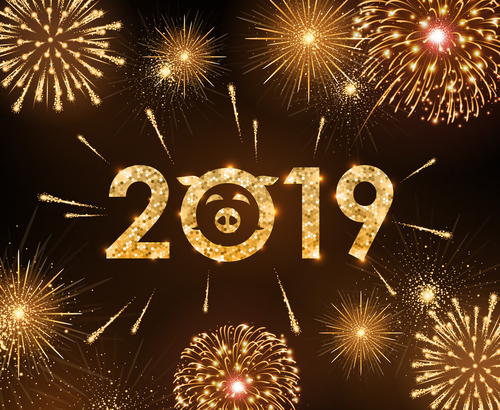 2019 new year background with bueautiful fireword vectors free vector file