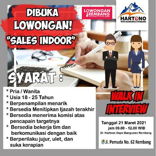 Lowongan Kerja Sales Indoor Depo Hartono Rembang Tanpa Syarat Pendidikan