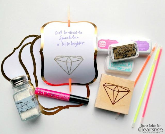 Non-Candy Stamped and Glittered Glow Stick Valentines by Dana Tatar