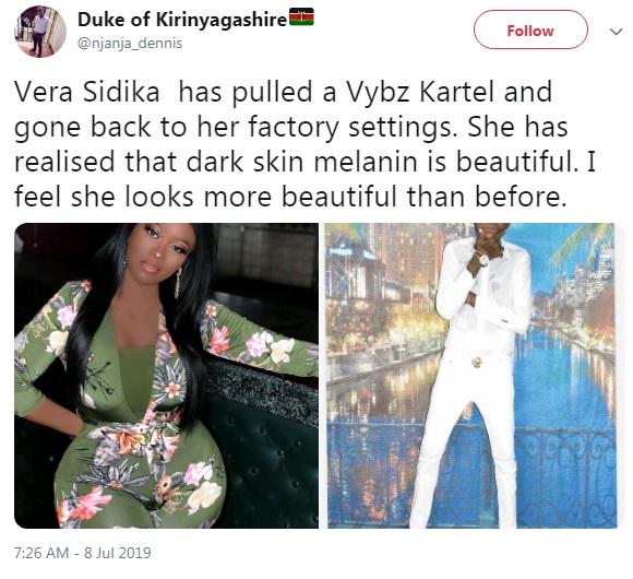 2 - City socialite VERA SIDIKA shocks Kenyans as she goes back to black or is it a hoax (LOOK)