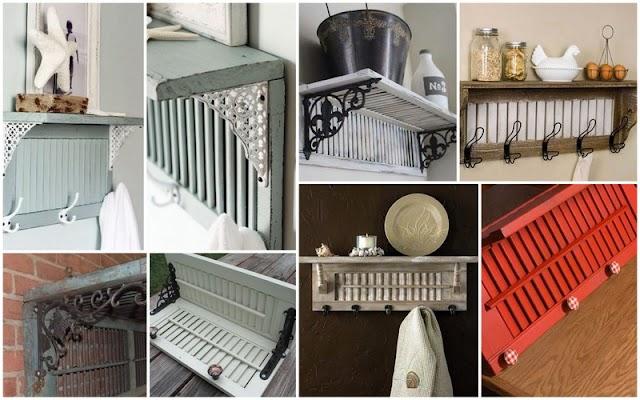 DIY Ράφια - Κρεμάστρες Τοίχου από παλιά Παντζούρια