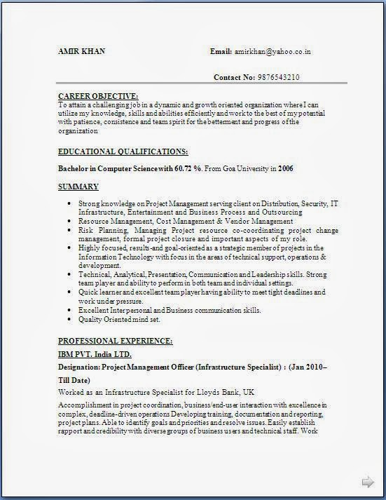 resume for freshers bsc computer science