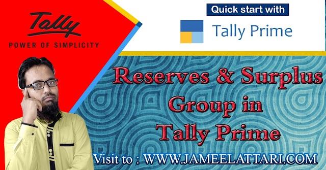 Reserves & Surplus Groups in Tally Prime   रिजर्व्स एंड सरप्लस ग्रुप में कौन सी लेजर आती है