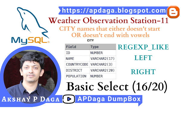 HackerRank: [Basic Select - 16/20] Weather Observation Station-11 | REGEXP_LIKE, LEFT, RIGHT function in SQL
