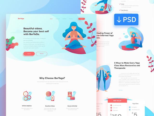 BerYoga homepage - PSD for free