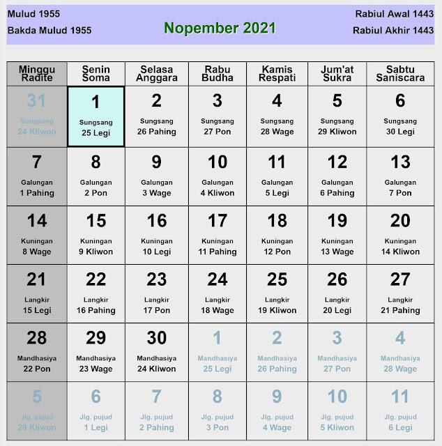 Kalender Jawa November 2021 Lengkap Hari Baik & Buruk
