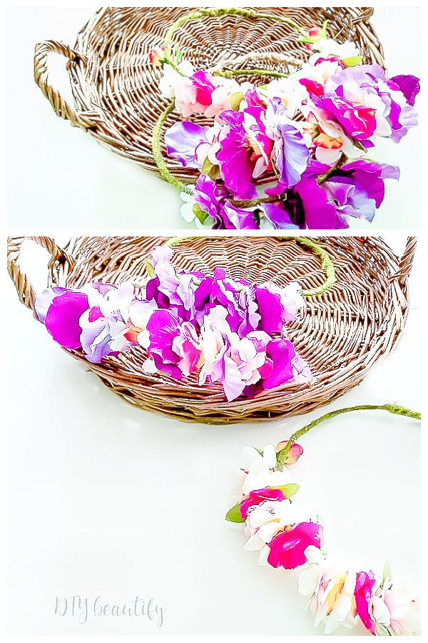DIY flower crowns in basket