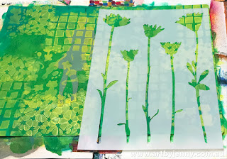 creating a background for Jenny's garden of daisies art journal page step-by-step tutorial