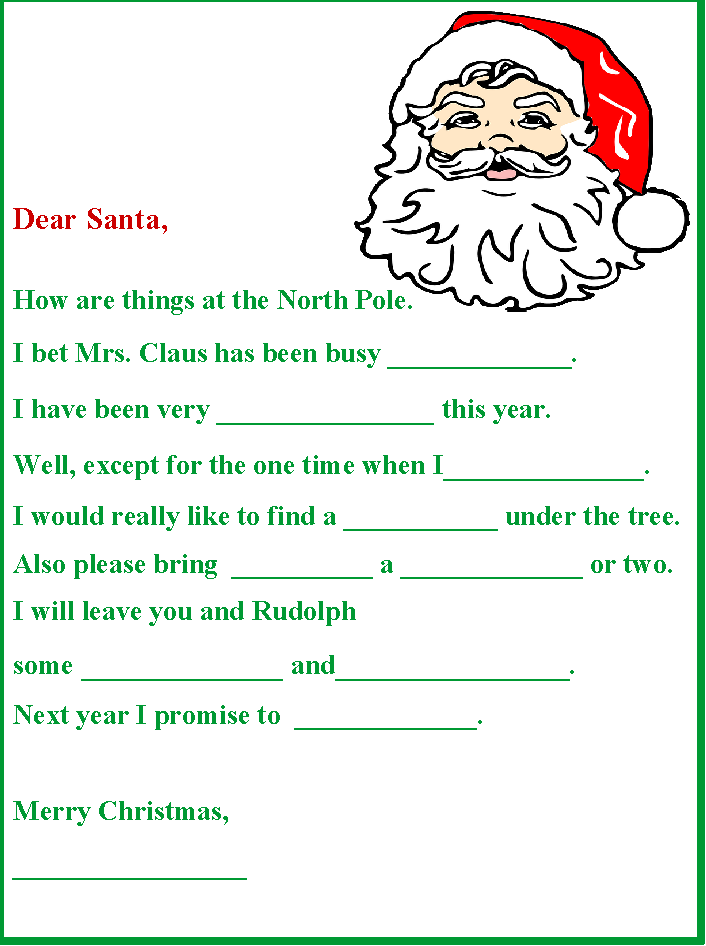 Christmas in July Santa Letter