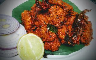 Garnished chicken 65 for chicken 65 recipe