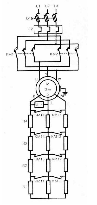 sch u00e9mas  u00e9lectriques et  u00e9lectroniques  freinage en contre  u2013 courant d u2019un moteur  u00e0 rotor bobin u00e9