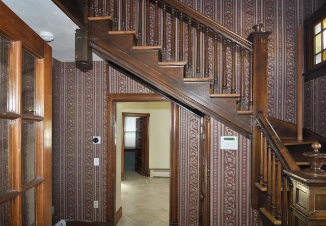 color photo of staircase inside a Sears Avoca in Cranston RI