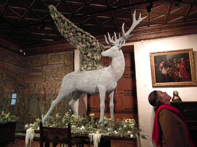 Winged stag Christmas decoration, Chateau of Chenonceau, 2019.  Indre et Loire, France. Photographed by Susan Walter. Tour the Loire Valley with a classic car and a private guide.