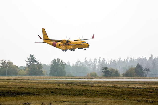 Image Attribute: The first CC-295 lands at 19 Wing, Canadian Forces Base Comox, in British Columbia on Sept. 17 / Copyright Garry Walker - all rights reserved. (CNW Group/Airbus)