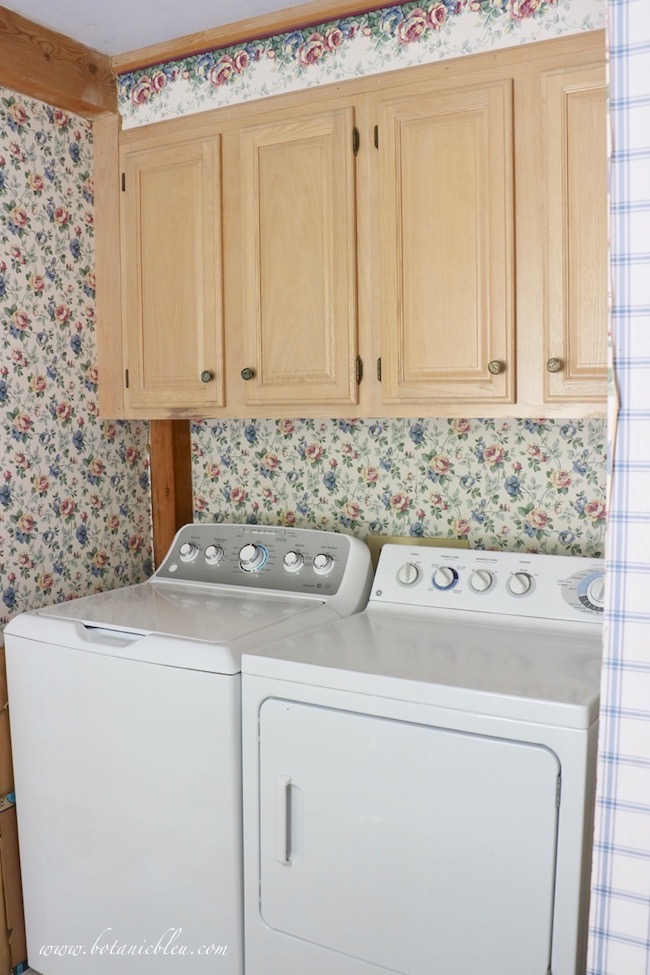 French Country Laundry One Room Challenge Wk 1 Before Damaged Cabinets