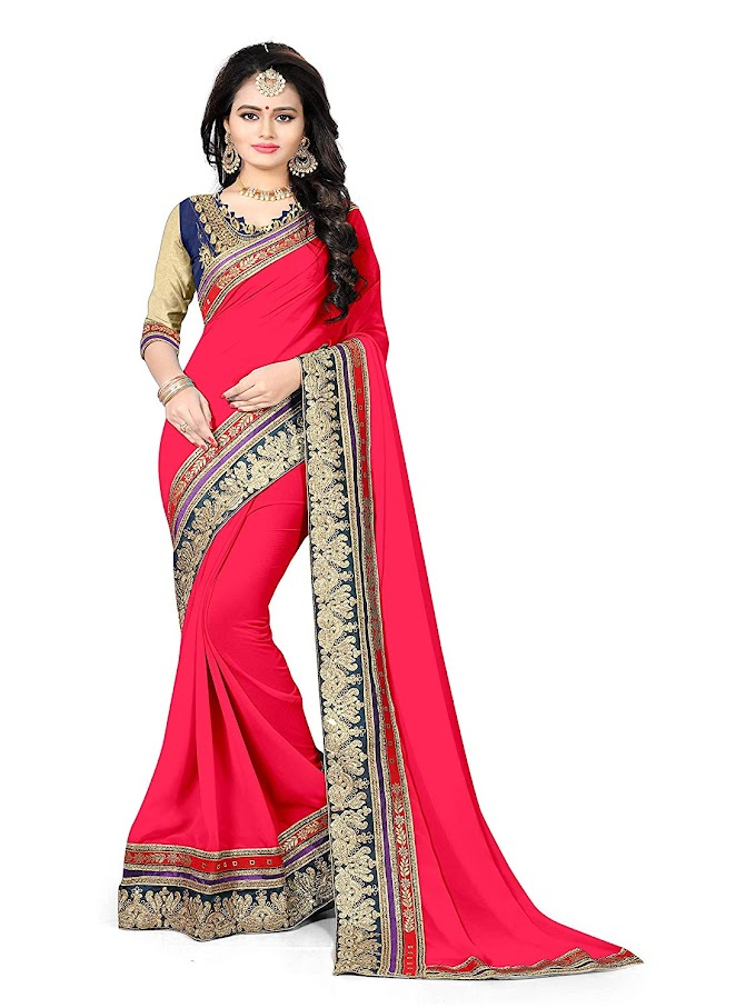GANGA SHREE Georgette pathani saree color red, free size