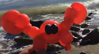Kleine rote Krabbe als Ballontier getwistet.