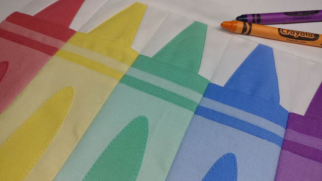 Crayon quilt block for Back to School themed quilt
