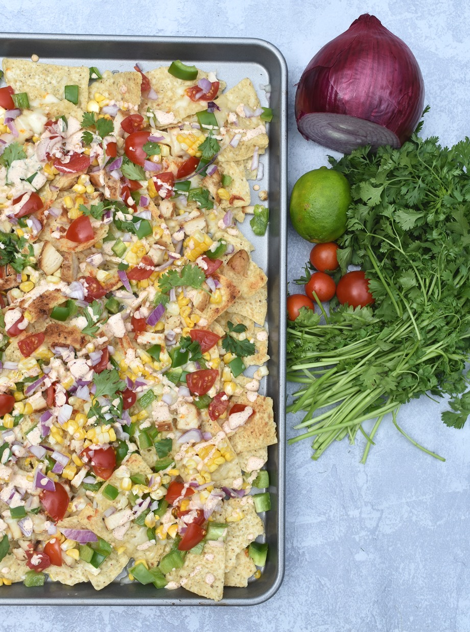 sheet pan of Mexican street corn nachos