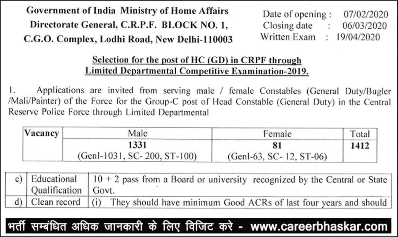 CRPF - Head Constable Recruitment 2020