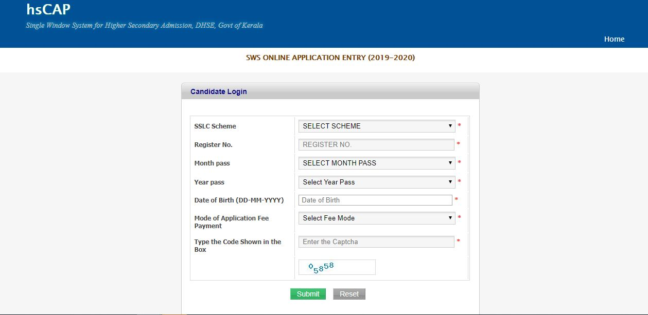 Plus one single window admission, Kerala DHSE ekajalam website