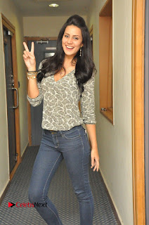 Actress Larissa Bonesi Pictures in Jeans at Big FM For Thikka Movie Promotions  0012
