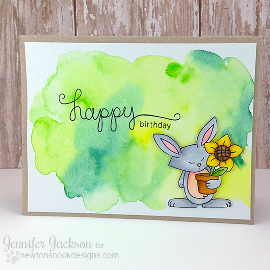 Watercolor Bunny card by Jennifer Jackson | Garden Whimsy Stamp set by Newton's Nook Designs #newtonsnook #bunny