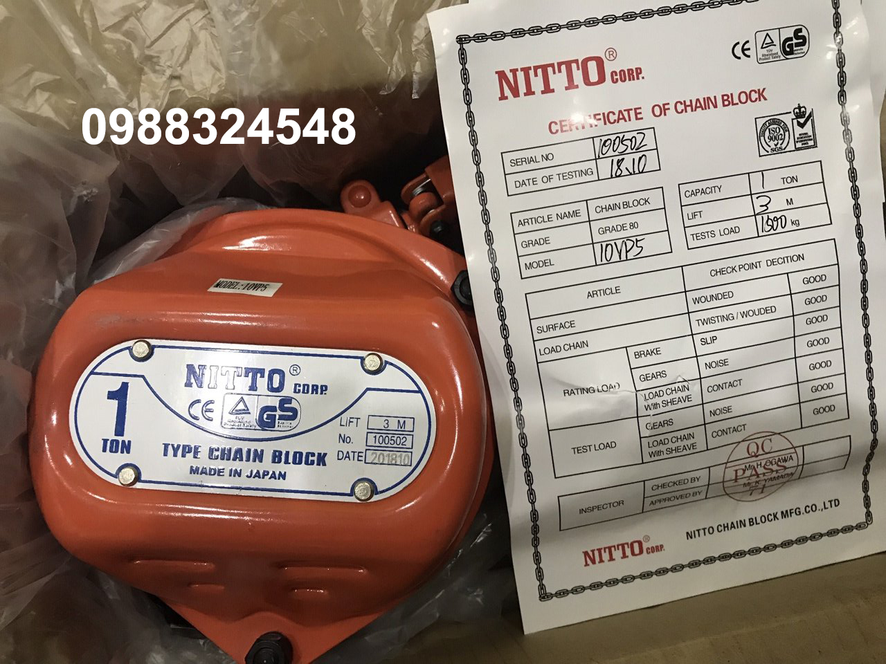 Pa lăng kéo tay nitto 10VP5 1 tấn