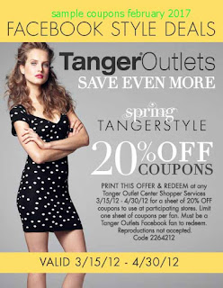 Tanger Outlet coupons for february 2017