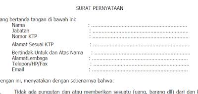 Contoh Surat Peryataan Kesiapan Menerima Bantuan Belanja