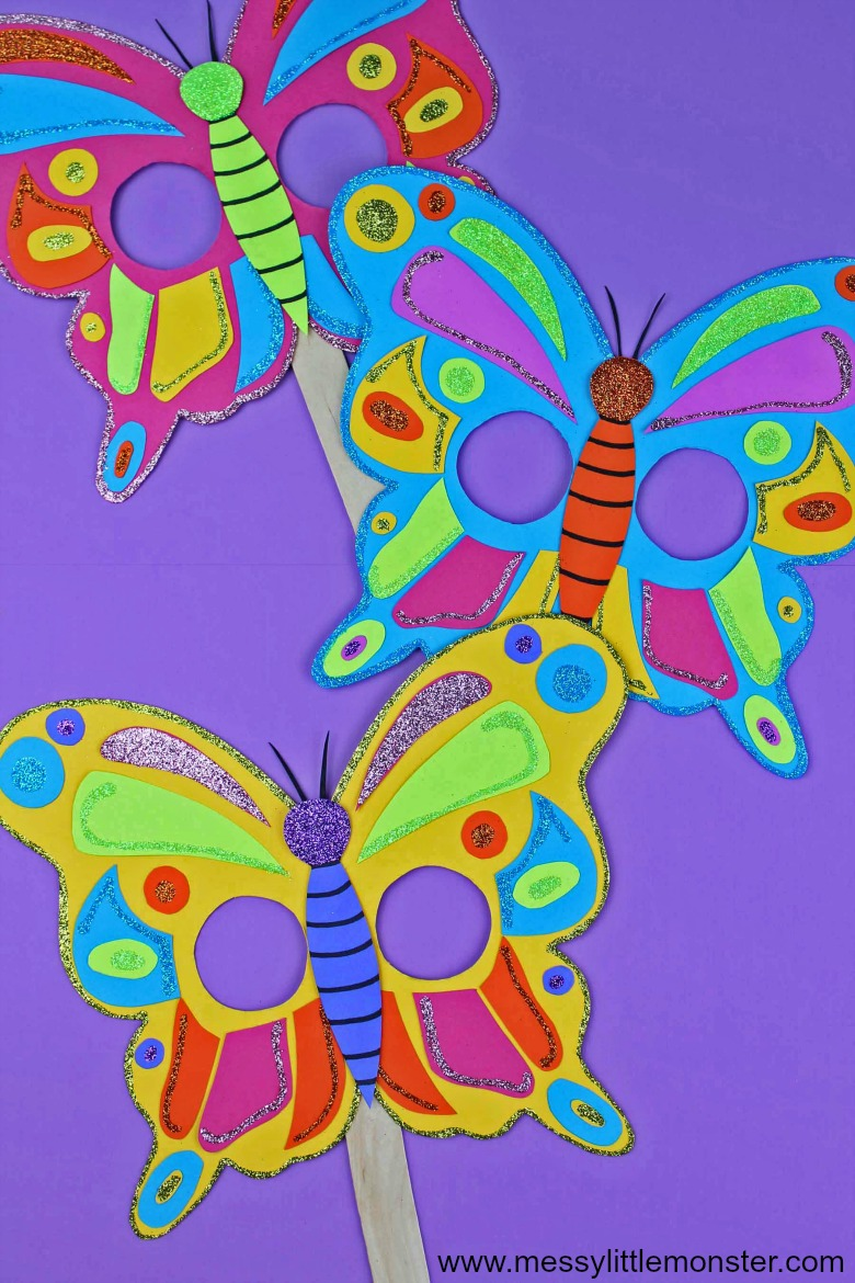 Butterfly mask craft for kids. Free printable butterfly template.