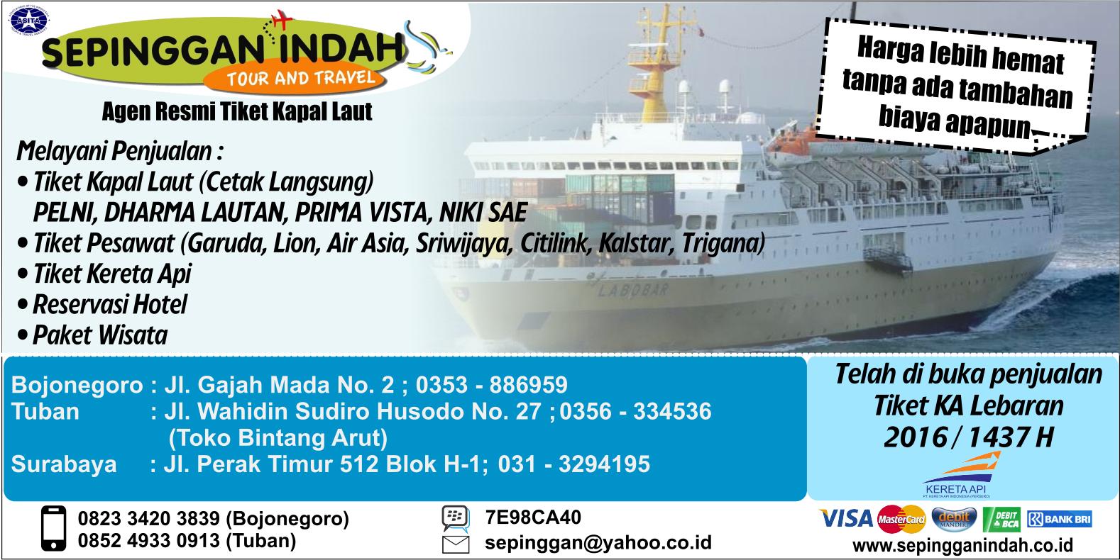 Agen Tiket Kapal Laut di Surabaya: Tiket Kapal Laut Online