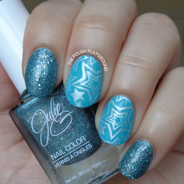 Blue Texture and Silver White Stars Stamping