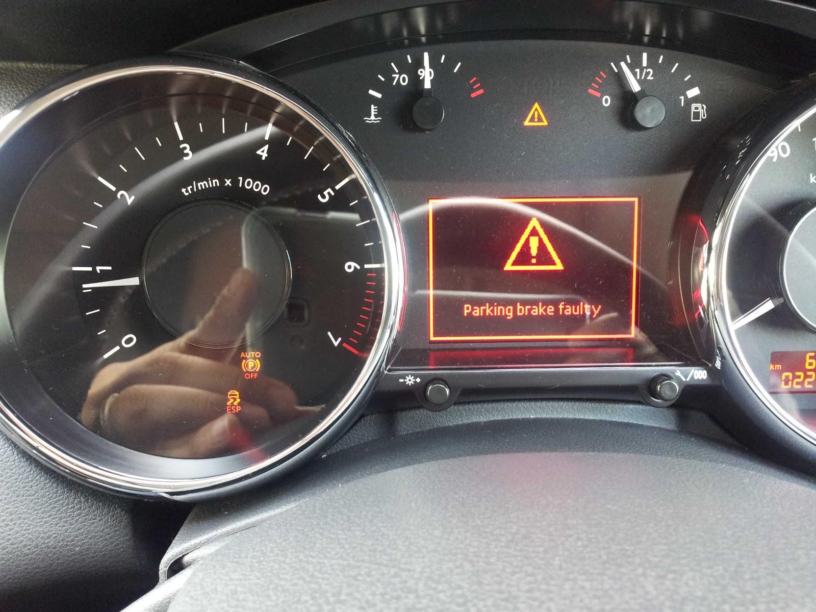 parking brake fault peugeot