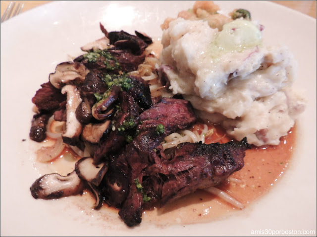 Hibachi Steak: Certified Angus Hanger Steak with Shiitake Mushrooms, Onions, Bean Sprouts, Wasabi Mashed Potatoes and Tempura Asparagus