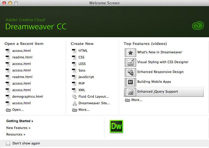 Screenshot Image for Dreamweaver CC