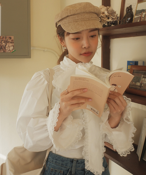 Bow Neck Lace-Trimmed Blouse