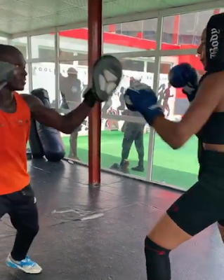 Actress Nancy Isime Seen Throwing Jabs On The Boxing Ground, Fans React