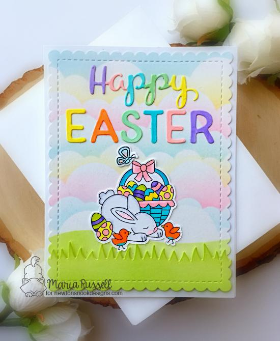 Happy Easter Card by Maria Russell | Hop Into Spring Stamp Set, Land Borders Die Set, Clouds Stencil, Holiday Greetings Die Set and Essential Alphabet Die Set by Newton's Nook Designs #newtonsnook #handmade