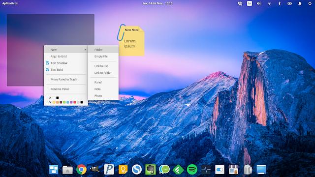 Configurações da área de trabalho do elementary OS