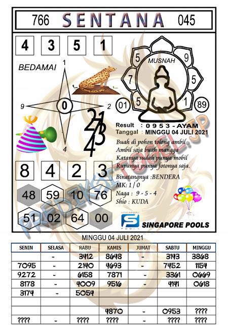 Syair Sentana SGP Minggu 04 Juli 2021