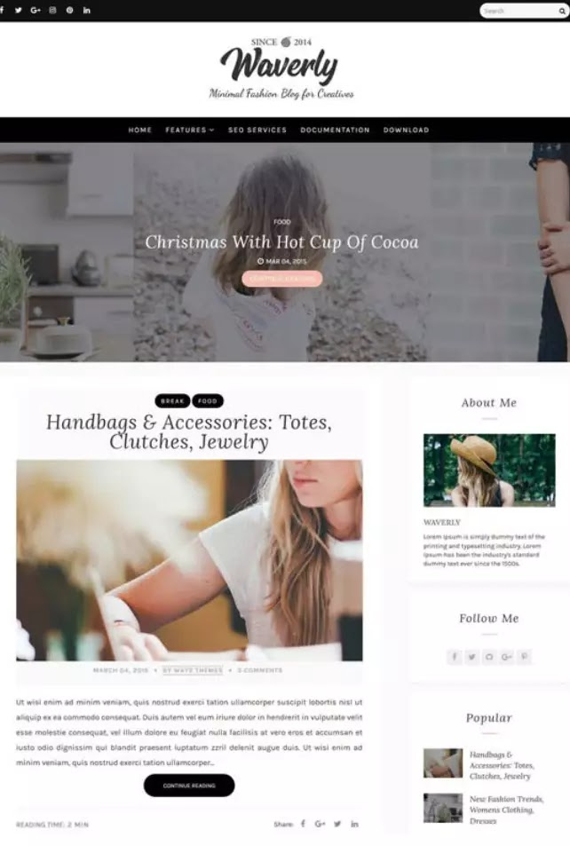 Waverly blogger theme