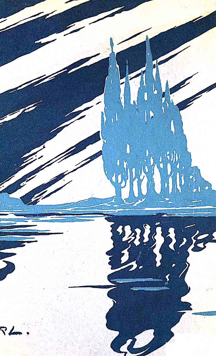 a Stella Langdale illustration for the end pages of a book, with sky and water in blue