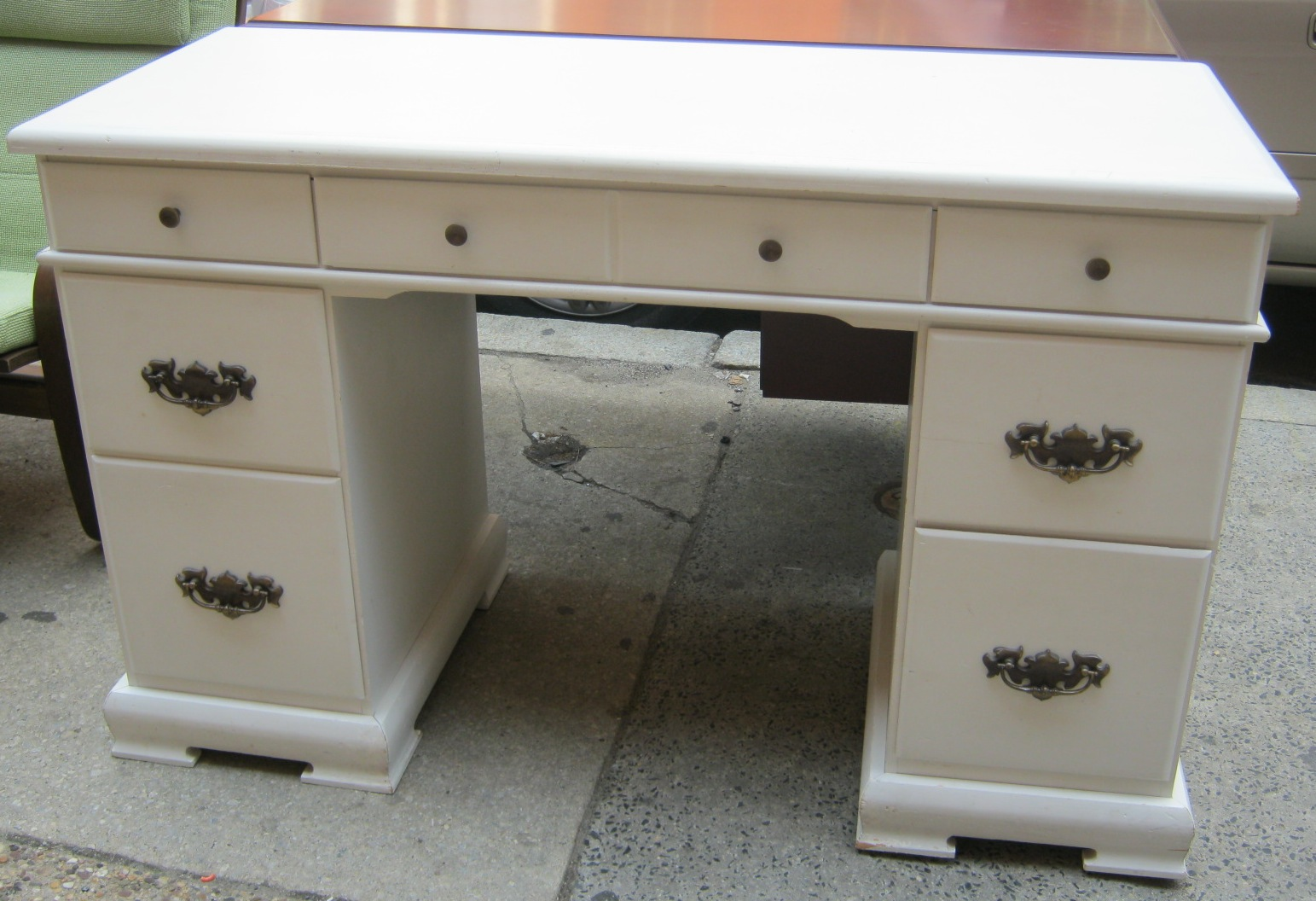 White Painted Solid Wood Desk Sold