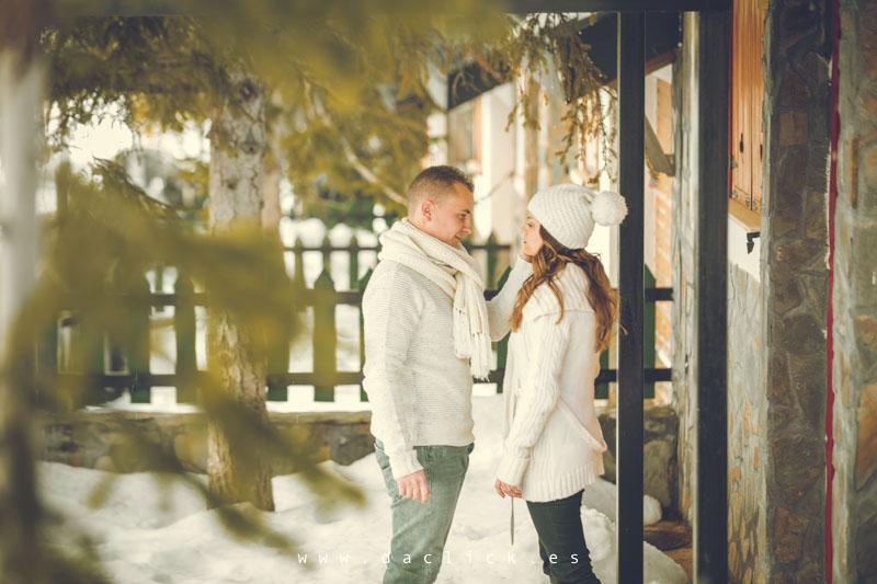 novios en la nieve