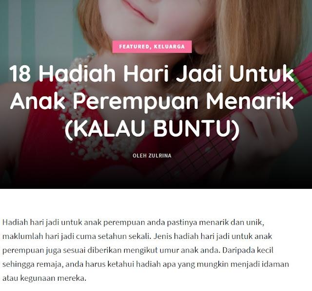 bidadarimy laman info tips keibubapaan, 18 hadiah untuk anak perempuan, tips keibubapaan, laman info berguna,