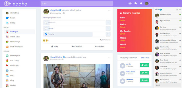 Tampilan dashboard sosial media Findaha