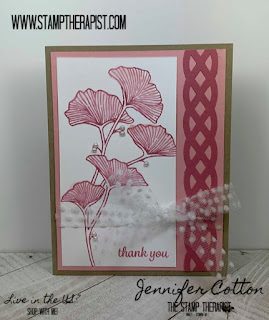 This pink card uses Stampin' Up! Beautifully Braided Bundle (includes the Braided Border Punch)!  These two products are retiring in June 2020!  I love the Rococo Rose and Blushing Bride color combo!  Click the pic to go to the blog and see the video!  #StampTherapist #StampinUp