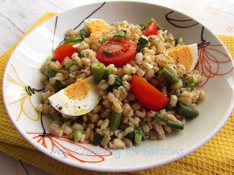 Салата от ечемик, зелен боб и яйца * Insalata di orzo perlato, uova e fagioli