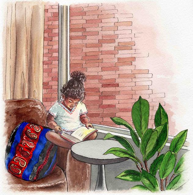 Book illustration for children Small Black girl reading